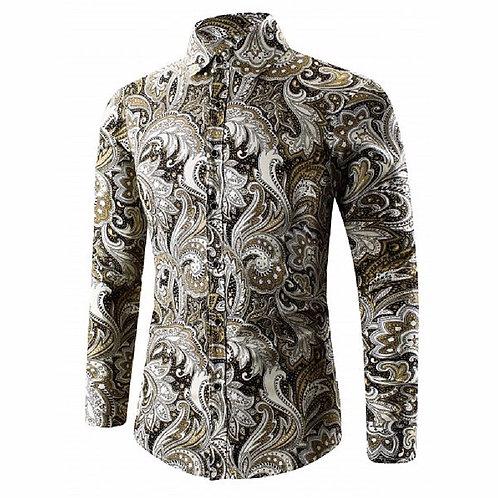 Turn-Down Collar Paisley Printed Shirt