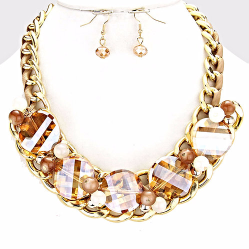 Cosmic Glass Collar Necklace Set