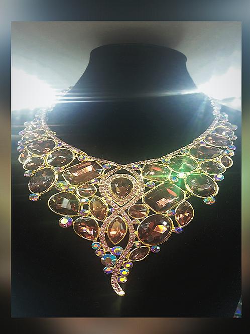Rhinestone Marquise Necklace Set