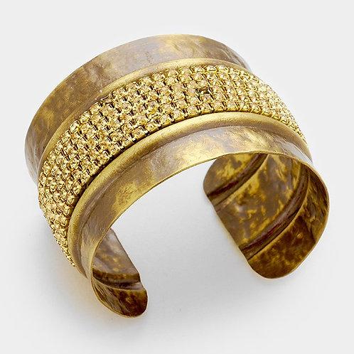 Crystal banded antique metal cuff bracelet