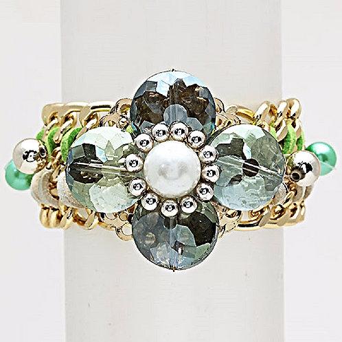 Pearl Flower Woven Link Bracelet