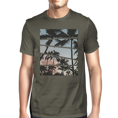 Palm Tree Split Photo Mens Unique Graphic Top Perfect Summer Shirt
