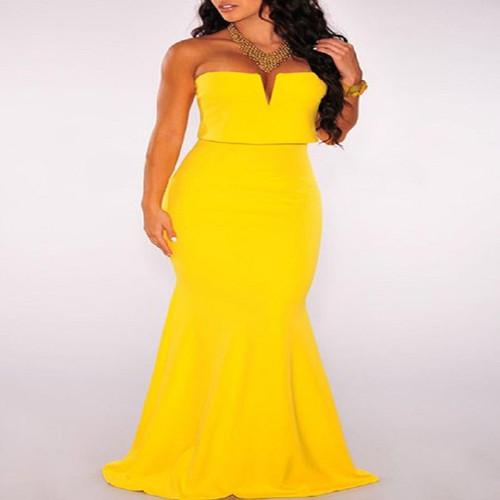 Strapless Sleeveless Yellow Maxi Dress