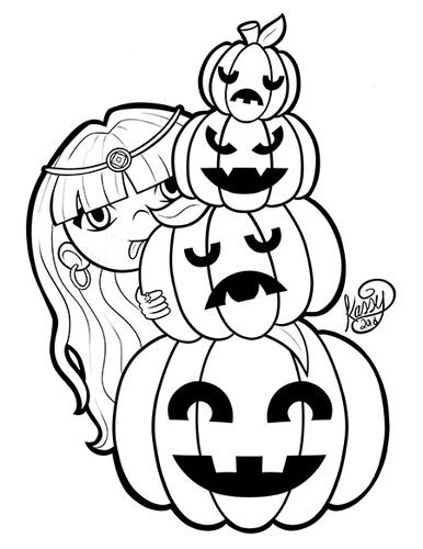 Girl hiding behind three pumpkins