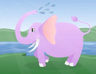 Vectorial Elephant made with Vectornator