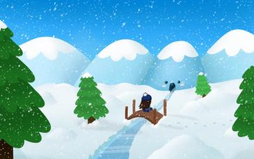 Animated Cartoon Winter Landscape