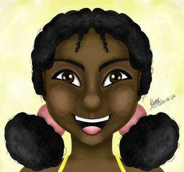 Digital Painting on Photoshop of a Cartoon Kid face