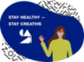 "Illustration: A woman wearing a cloth face mask waves. On a blue background, the words ""Stay Healthy–Stay Creative"""