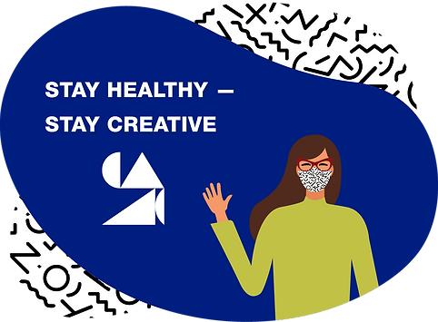 """Illustration: A woman wearing a cloth face mask waves. On a blue background, the words """"Stay Healthy–Stay Creative"""""""