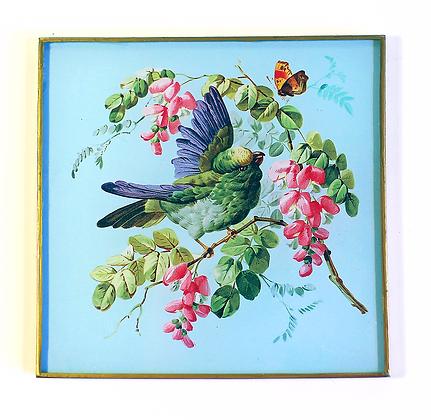 Fancy Blue Botantical Decoupage Bird Wall Hanging
