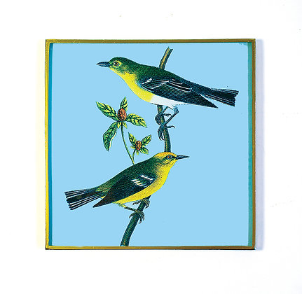 Black & Yellow Birds Decoupage Wall Hanging
