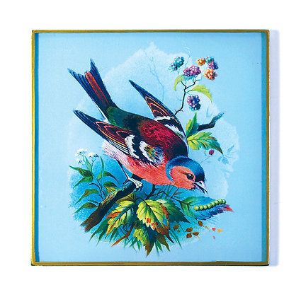 Red & Blue Chaffinch Decoupage Wall Hanging