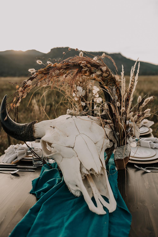 buffalo skull, rustic wedding, Amber waves of grain, styled shoot, western plate setting, turquoise napkin ring, western wedding, montana wedding, missoula photographer, montana wedding photographer, turquoise, lace boho wedding dress, rococo bridal