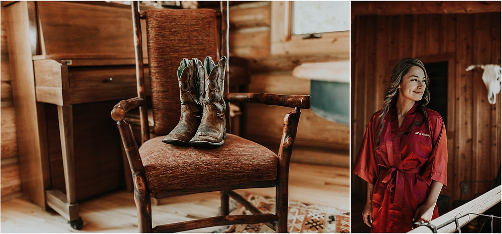 wearing boots with wedding dress; rustic mountain wedding Crazy Mountains | Dejong Wedding in front of the mountains Big Timber, MT | Katy Shay Photo; Missoula, Montana photographer