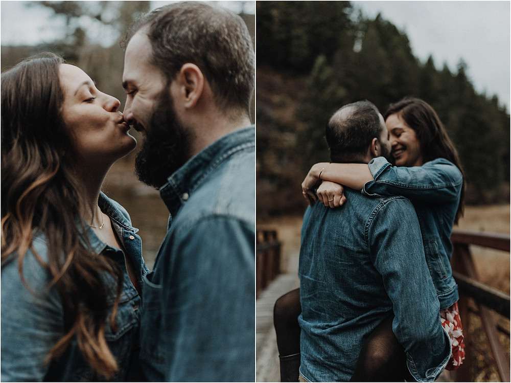 Engagement photos in the woods, fall engagement, mountain photo shoot, sunset photos, Bohemian engagements, What to wear for engagement shoot, moody, Montana photographer, Missoula Engagement, bohemian
