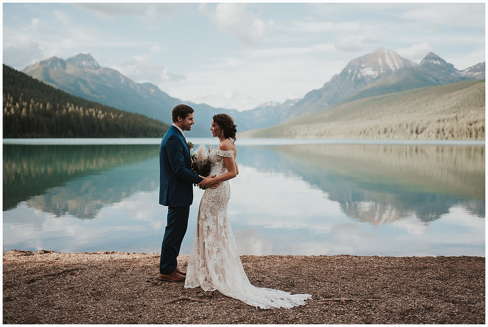 first look photos, Glacier National Park, Elegant and Romantic Styled Elopement, Katy Shay Photo, Montana Wedding and Elopement Photographer, Glacier National Park Photographer, Moody photos, glamorous wedding, Navy, maroon, coral, lace wedding dress, Bozeman photographer, Missoula photographer, Kalispell photographer, Glacier NP, Bowman Lake, styled shoot, elopement, elopement inspiration
