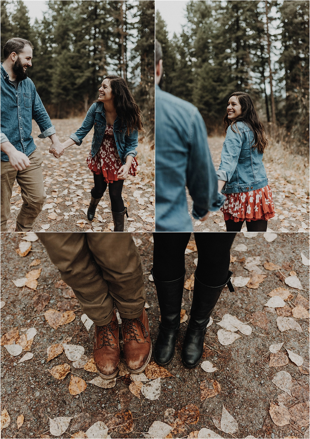 Engagement photos in the woods, fall engagement, mountain photo shoot, sunset photos, Bohemian engagements, What to wear for engagement shoot, moody, Montana photographer, Missoula Engagement