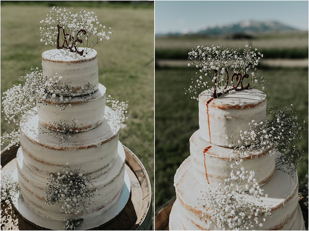 rough edged cake with baby's breath | Crazy Mountains | Dejong Wedding in front of the mountains Big Timber, MT | Katy Shay Photo; Missoula, Montana photographer