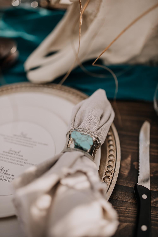 rustic wedding, Amber waves of grain, styled shoot, western plate setting, turquoise napkin ring, western wedding, montana wedding, missoula photographer, montana wedding photographer, turquoise, lace boho wedding dress, rococo bridal