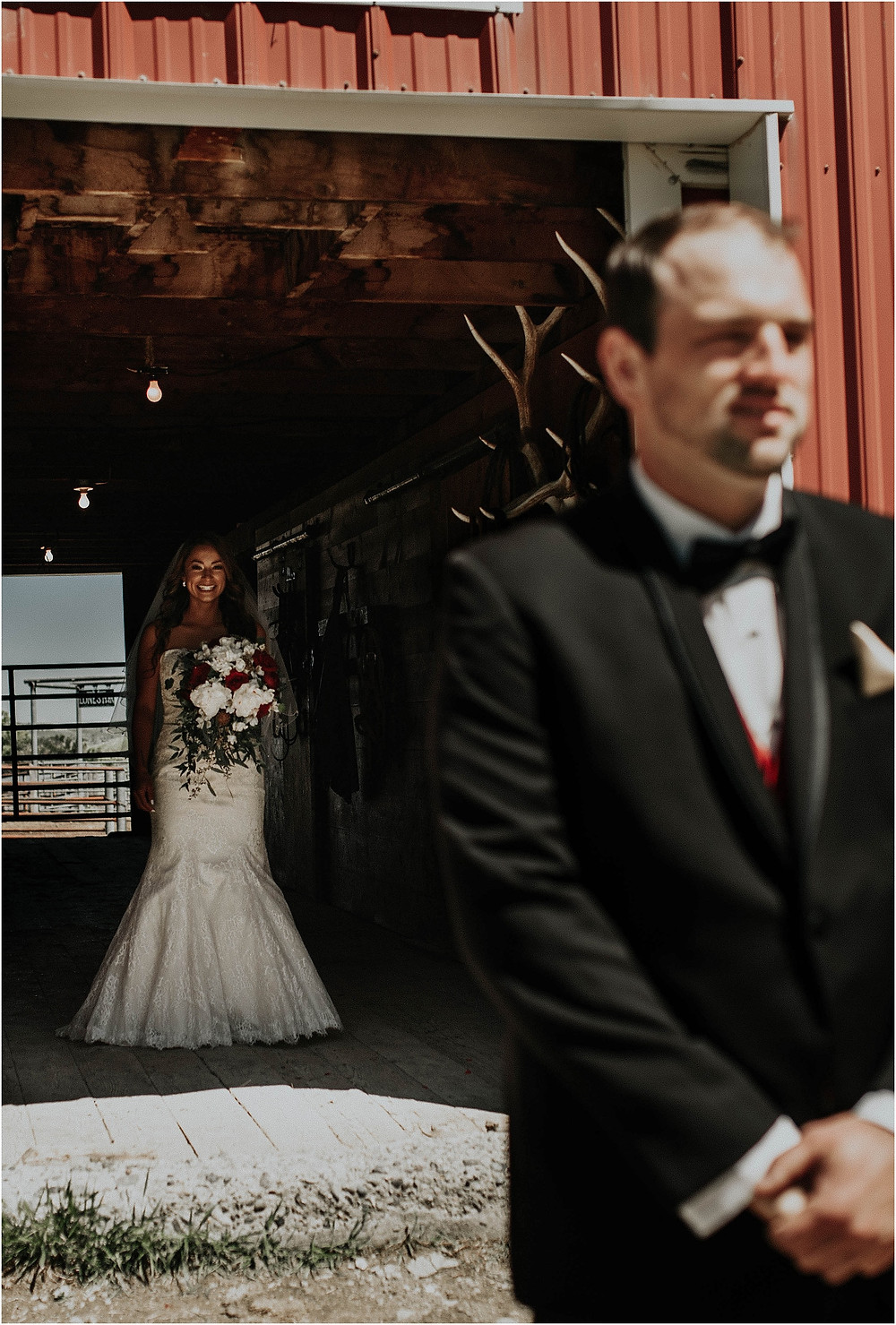 barn first look, rustic and romantic Crazy Mountains | Dejong Wedding in front of the mountains Big Timber, MT | Katy Shay Photo; Missoula, Montana photographer