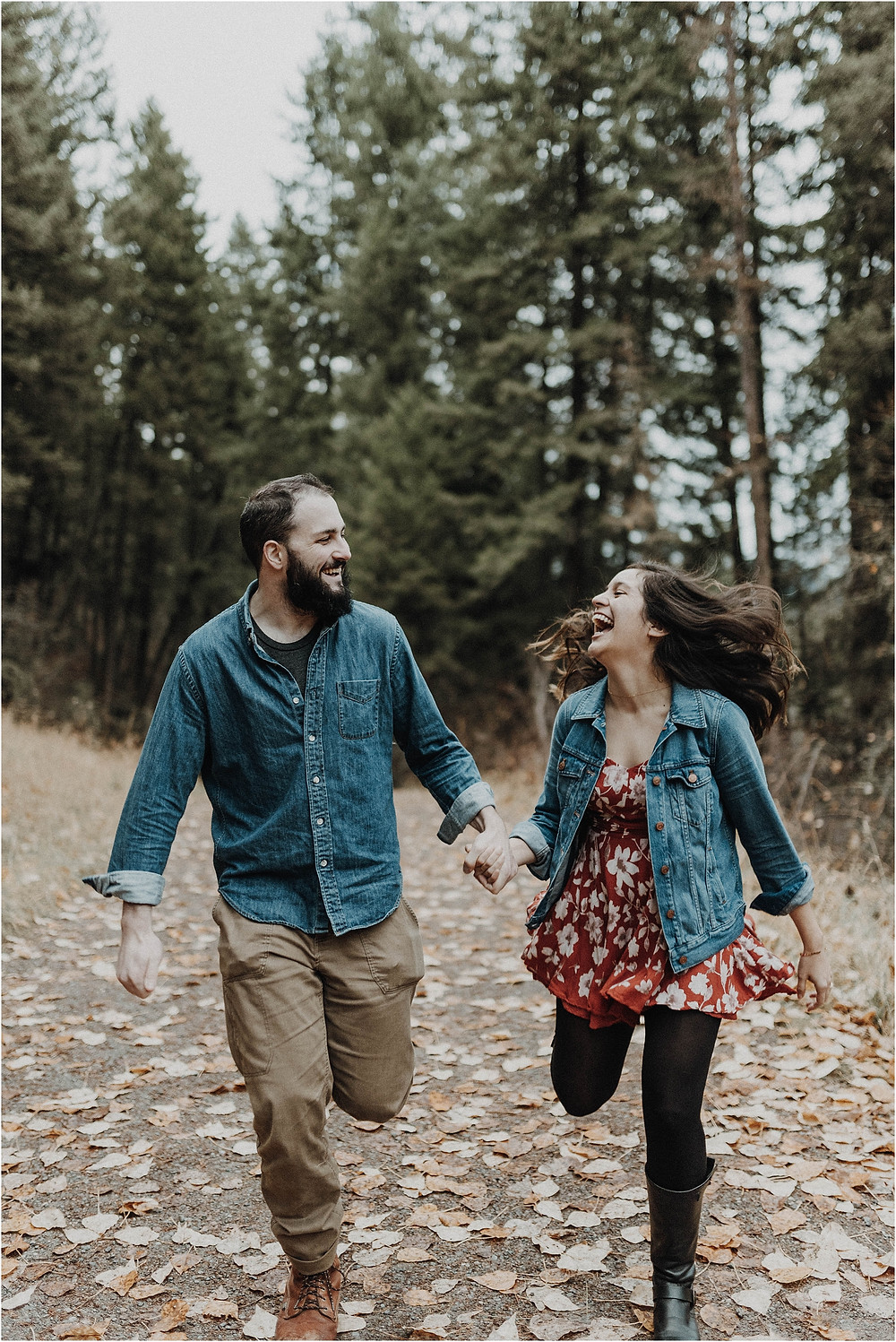 Engagement photos in the woods, fall engagement, mountain photo shoot, sunset photos, Bohemian engagements, What to wear for engagement shoot, moody, Montana photographer, Missoula Engagement, bohemian, unposed