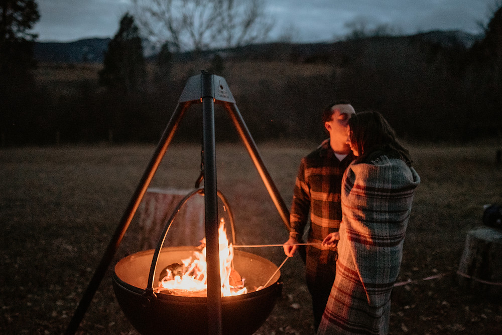 boho, dirt road, love, intimate engagements, missoula photographer, montana photographer, little smith creek ranch, katy shay photo, rustic, montana engagement, bozeman photographer, double exposure, mountains, fireside engagements, cauldron, firewood, roasting marshmallows