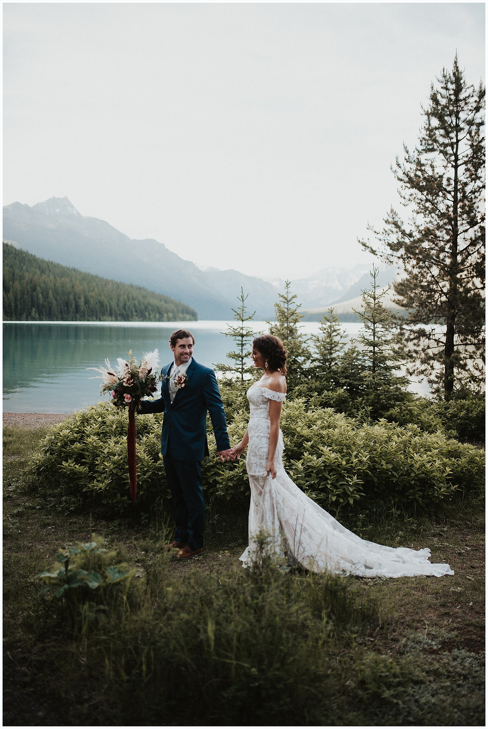 bouquet inspiration, bridal bouquet, Glacier National Park, Elegant and Romantic Styled Elopement, Katy Shay Photo, Montana Wedding and Elopement Photographer, Glacier National Park Photographer, Moody photos, glamorous wedding, Navy, maroon, coral, lace wedding dress, Bozeman photographer, Missoula photographer, Kalispell photographer, Glacier NP, Bowman Lake, styled shoot, elopement, elopement inspiration, bridal portraits, bridal hair and makeup, bride and groom photos, mountain elopement