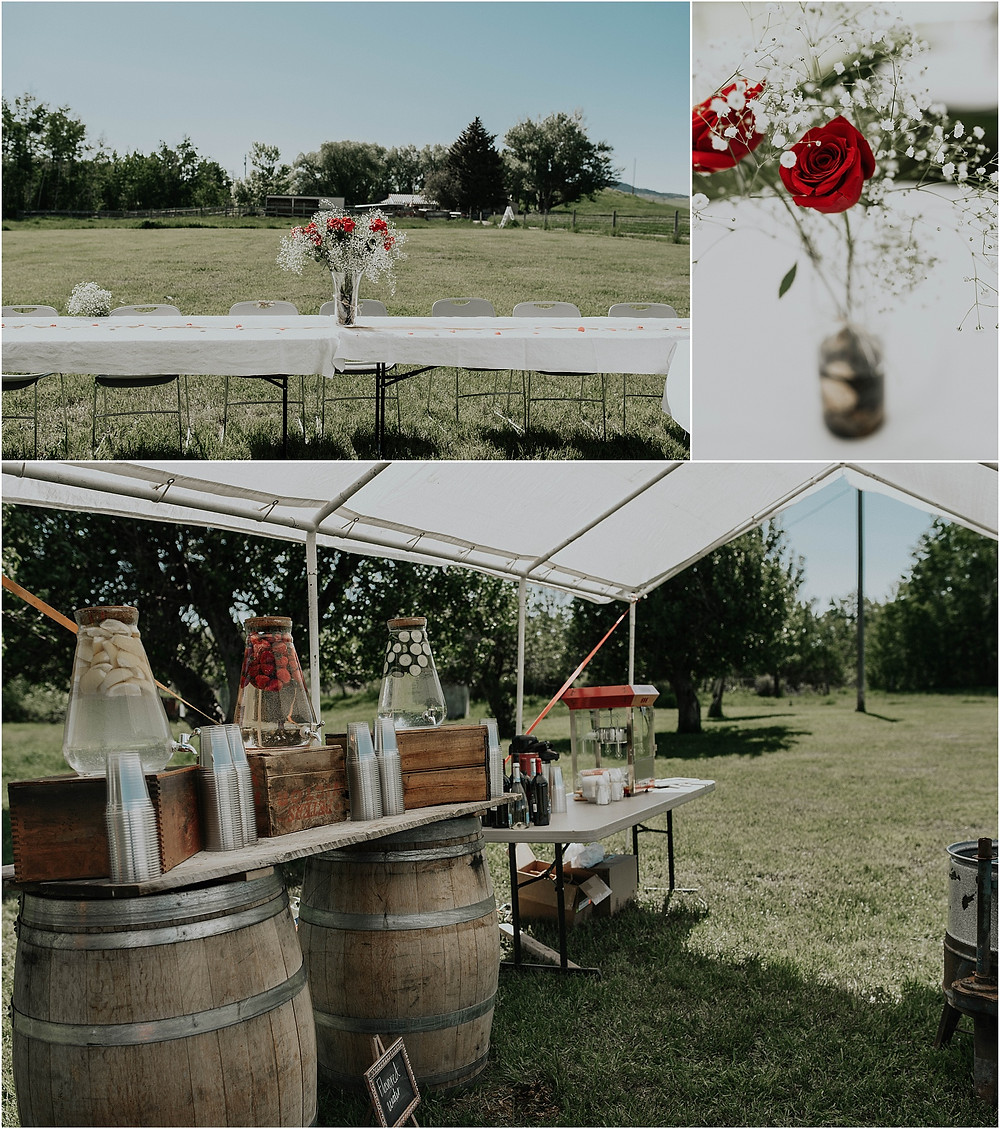 rustic reception, popcorn machine, roses, baby's breath wedding flower arrangements middle of the day wedding Crazy Mountains | Dejong Wedding in front of the mountains Big Timber, MT | Katy Shay Photo; Missoula, Montana photographer