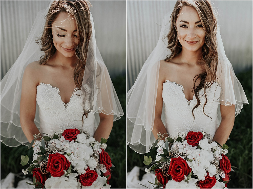 bride with her flowers and veil Crazy Mountains | Dejong Wedding in front of the mountains Big Timber, MT | Katy Shay Photo; Missoula, Montana photographer