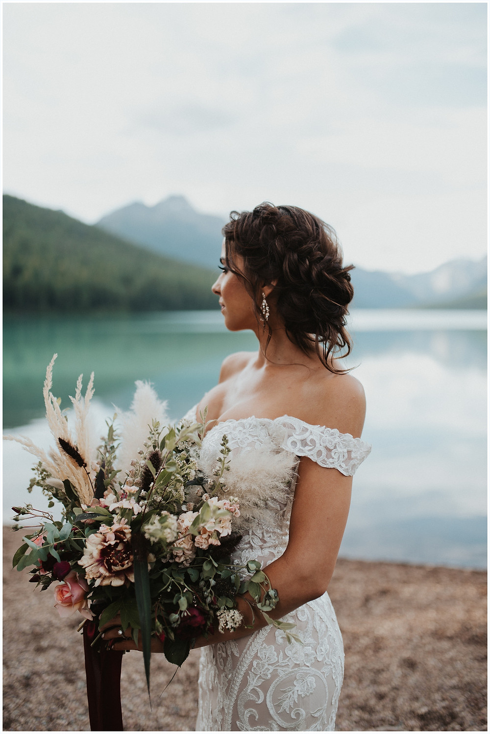 bouquet inspiration, bridal bouquet, Glacier National Park, Elegant and Romantic Styled Elopement, Katy Shay Photo, Montana Wedding and Elopement Photographer, Glacier National Park Photographer, Moody photos, glamorous wedding, Navy, maroon, coral, lace wedding dress, Bozeman photographer, Missoula photographer, Kalispell photographer, Glacier NP, Bowman Lake, styled shoot, elopement, elopement inspiration, bridal portraits, bridal hair and makeup