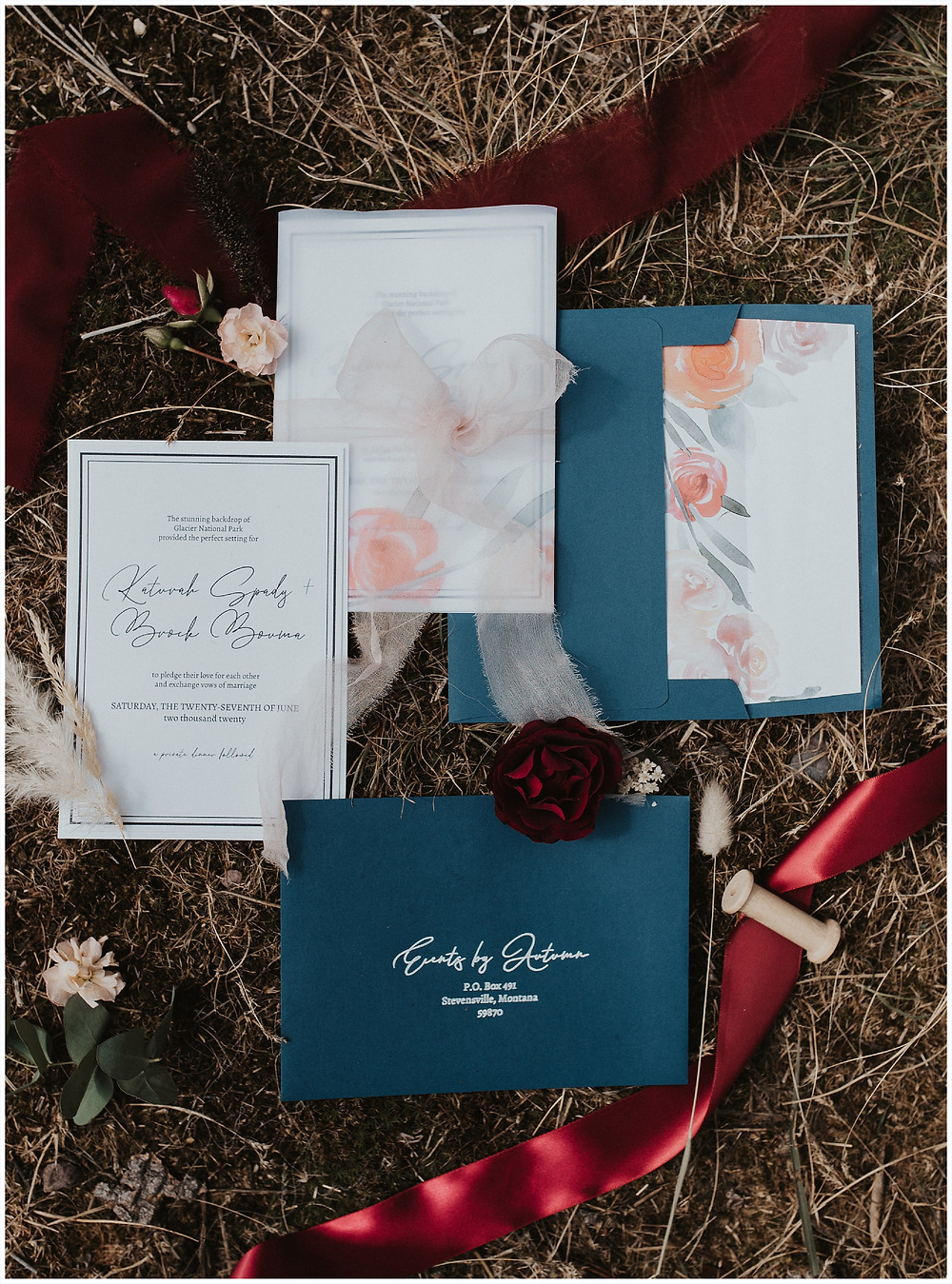 wedding stationary, Glacier National Park, Elegant and Romantic Styled Elopement, Katy Shay Photo, Montana Wedding and Elopement Photographer, Glacier National Park Photographer, Moody photos, glamorous wedding, Navy, maroon, coral, lace wedding dress, Bozeman photographer, Missoula photographer, Kalispell photographer, Glacier NP, Bowman Lake