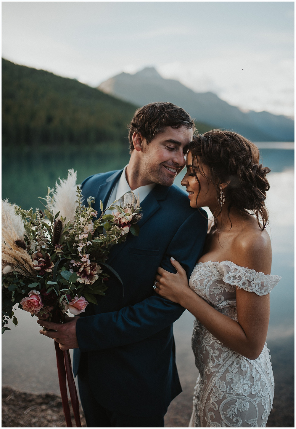 bouquet inspiration, bridal bouquet, Glacier National Park, Elegant and Romantic Styled Elopement, Katy Shay Photo, Montana Wedding and Elopement Photographer, Glacier National Park Photographer, Moody photos, glamorous wedding, Navy, maroon, coral, lace wedding dress, Allure bridal gown,  Bozeman photographer, Missoula photographer, Kalispell photographer, Glacier NP, Bowman Lake, styled shoot, elopement, elopement inspiration, bridal portraits, bridal hair and makeup, bride and groom photos, mountain elopement