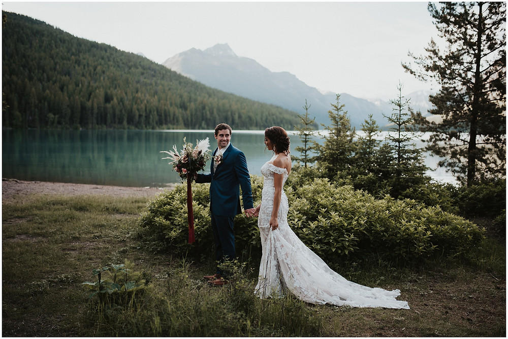 Glacier National Park, Elegant and Romantic Styled Elopement, Katy Shay Photo, Montana Wedding and Elopement Photographer, Glacier National Park Photographer, Moody photos, glamorous wedding, Navy, maroon, coral, lace wedding dress, Bozeman photographer, Missoula photographer, Kalispell photographer, Glacier NP, Bowman Lake