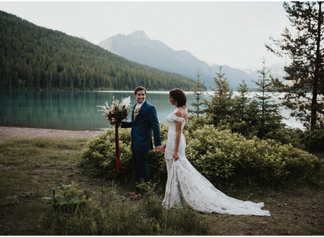 Glacier National Park Elegant and Romantic Styled Elopement