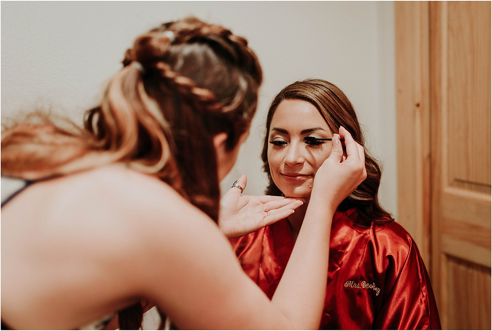 photo of bride getting ready | Crazy Mountains | Dejong Wedding in front of the mountains Big Timber, MT | Katy Shay Photo; Missoula, Montana photographer