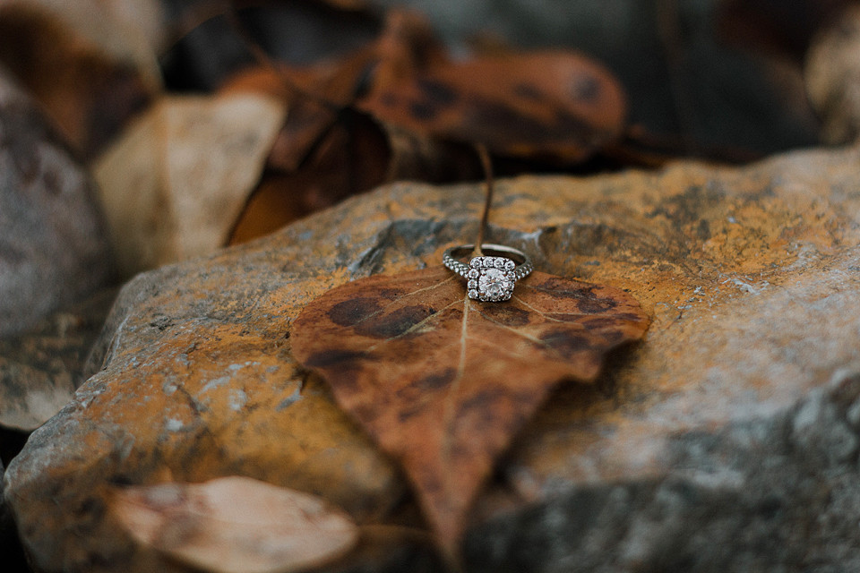 Engagement ring with Fall Leaves! |  Montana Wedding & Portrait Photographer | Katy Shay Photo