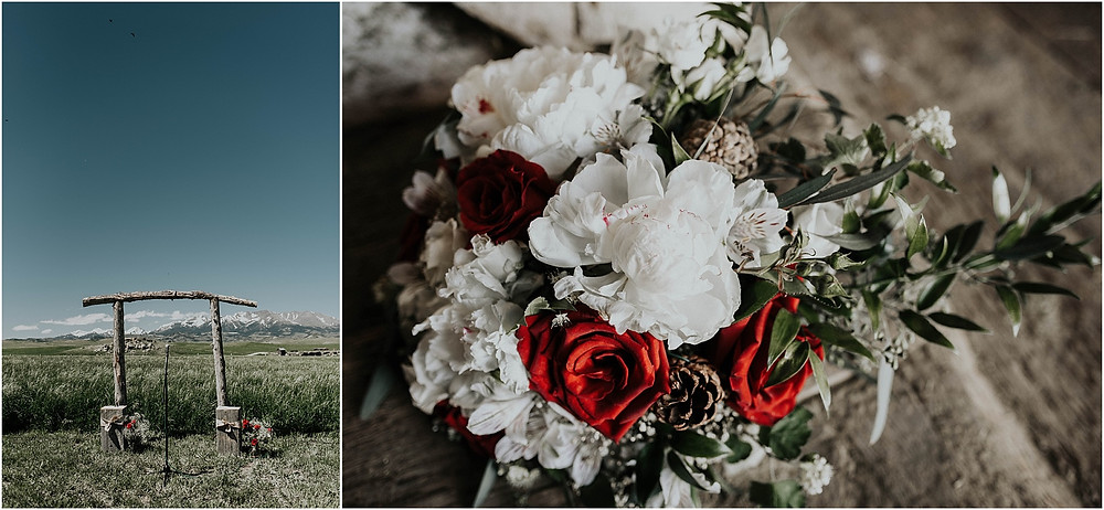 wooden handmade arch for rustic mountain wedding | Crazy Mountains | Dejong Wedding in front of the mountains Big Timber, MT | Katy Shay Photo; Missoula, Montana photographer