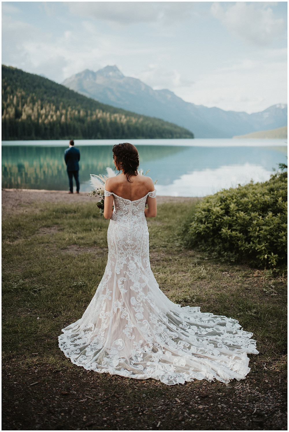 first look inspiration, first look photos, Glacier National Park, Elegant and Romantic Styled Elopement, Katy Shay Photo, Montana Wedding and Elopement Photographer, Glacier National Park Photographer, Moody photos, glamorous wedding, Navy, maroon, coral, lace wedding dress, Bozeman photographer, Missoula photographer, Kalispell photographer, Glacier NP, Bowman Lake