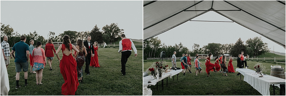 reception and dancing outdoors middle of the day wedding Crazy Mountains | Dejong Wedding in front of the mountains Big Timber, MT | Katy Shay Photo; Missoula, Montana photographer