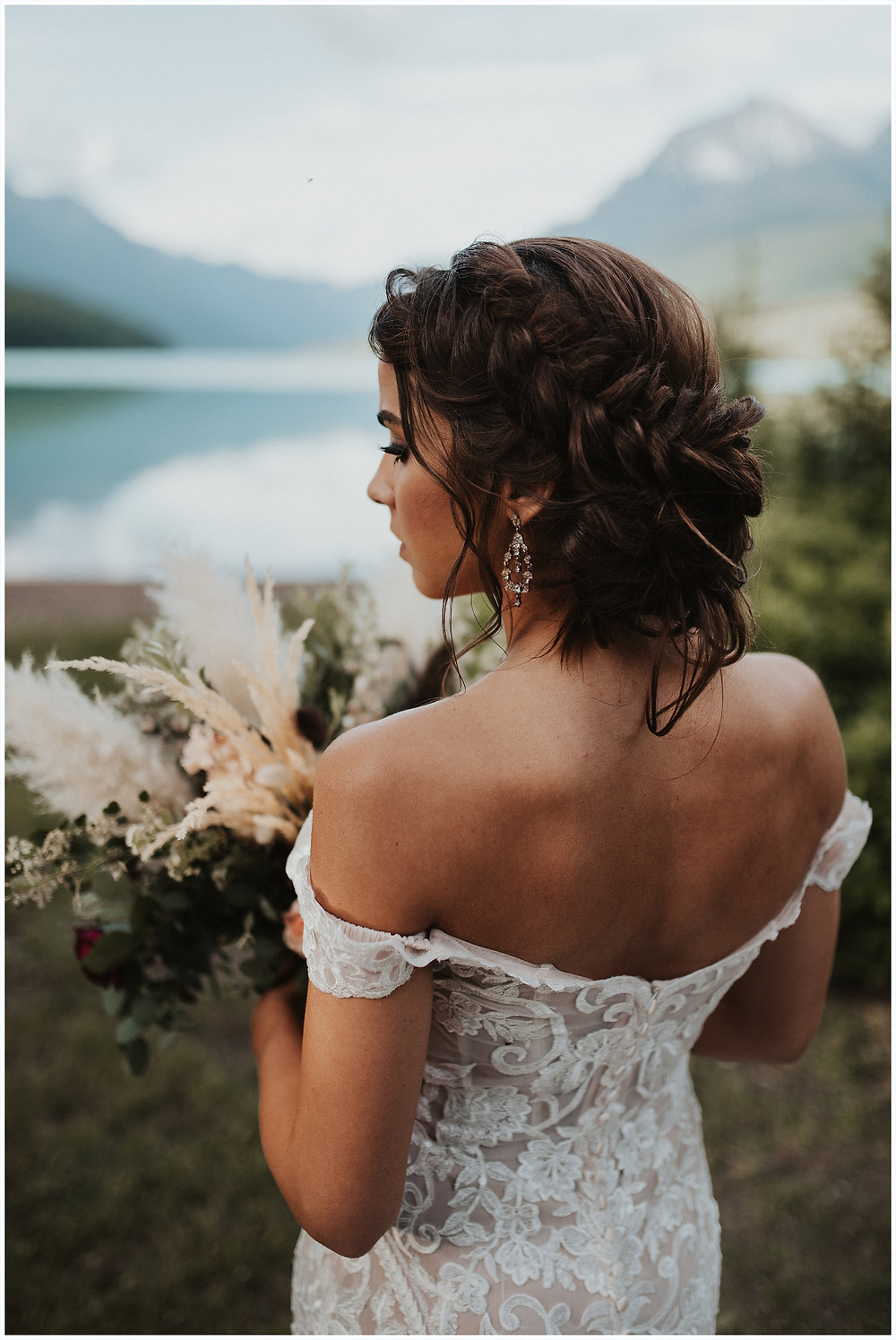 wedding hair inspiration, Glacier National Park, Elegant and Romantic Styled Elopement, Katy Shay Photo, Montana Wedding and Elopement Photographer, Glacier National Park Photographer, Moody photos, glamorous wedding, Navy, maroon, coral, lace wedding dress, Bozeman photographer, Missoula photographer, Kalispell photographer, Glacier NP, Bowman Lake, Allure wedding dress
