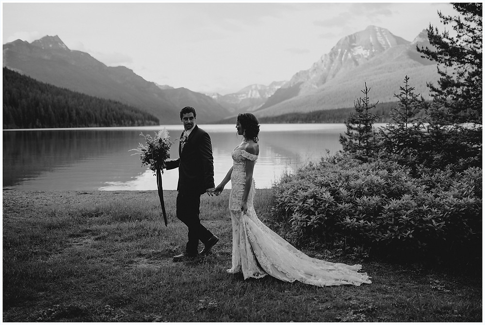 bouquet inspiration, bridal bouquet, Glacier National Park, Elegant and Romantic Styled Elopement, Katy Shay Photo, Montana Wedding and Elopement Photographer, Glacier National Park Photographer, Moody photos, glamorous wedding, Navy, maroon, coral, lace wedding dress, Bozeman photographer, Missoula photographer, Kalispell photographer, Glacier NP, Bowman Lake, styled shoot, elopement, elopement inspiration, bridal portraits, bridal hair and makeup, bride and groom photos