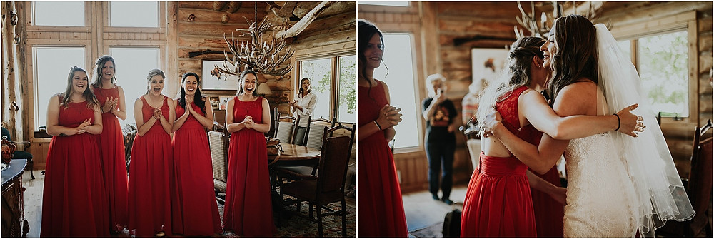 bridesmaids reacting to the bride Crazy Mountains | Dejong Wedding in front of the mountains Big Timber, MT | Katy Shay Photo; Missoula, Montana photographer