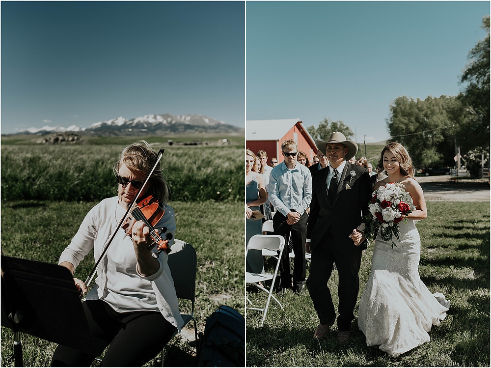 wedding ceremony, violinist grooms reaction to seeing bride, first look Crazy Mountains | Dejong Wedding in front of the mountains Big Timber, MT | Katy Shay Photo; Missoula, Montana photographer