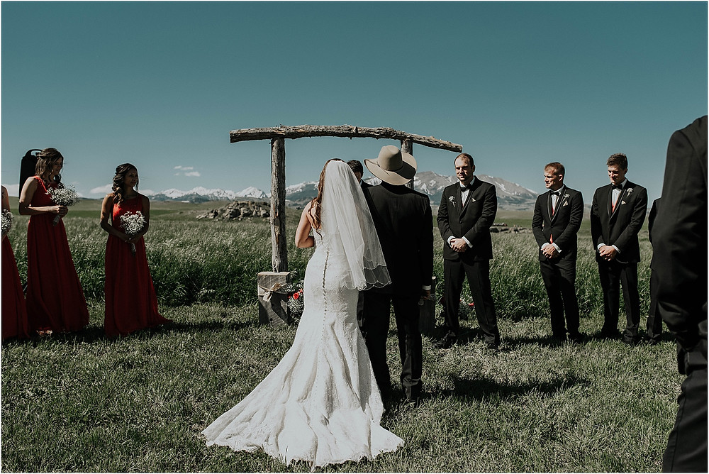 father giving bride away, middle of the day wedding Crazy Mountains | Dejong Wedding in front of the mountains Big Timber, MT | Katy Shay Photo; Missoula, Montana photographer