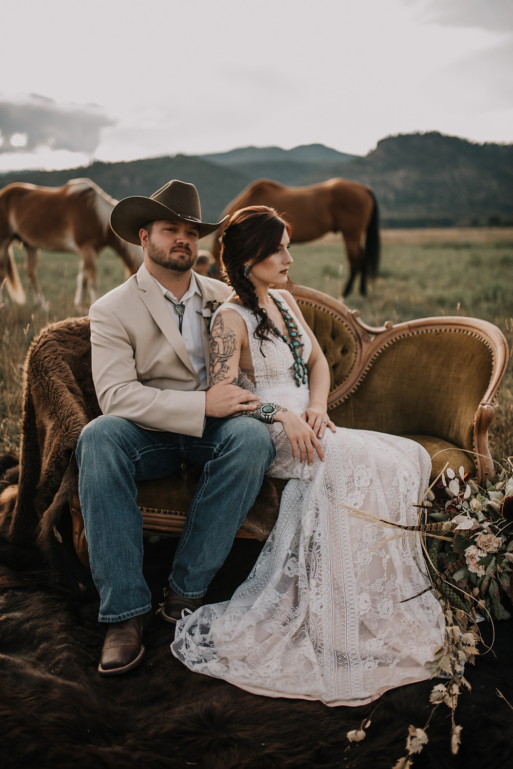 rustic bouquet, rustic wedding, Amber waves of grain, styled shoot, western plate setting, turquoise napkin ring, western wedding, montana wedding, missoula photographer, montana wedding photographer, turquoise, lace boho wedding dress, rococo bridal