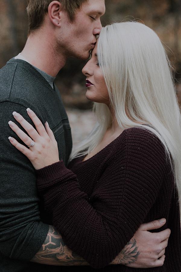 Groom kissing the Bride's forehead sweetly | Montana Wedding & Portrait Photographer | Katy Shay Photo