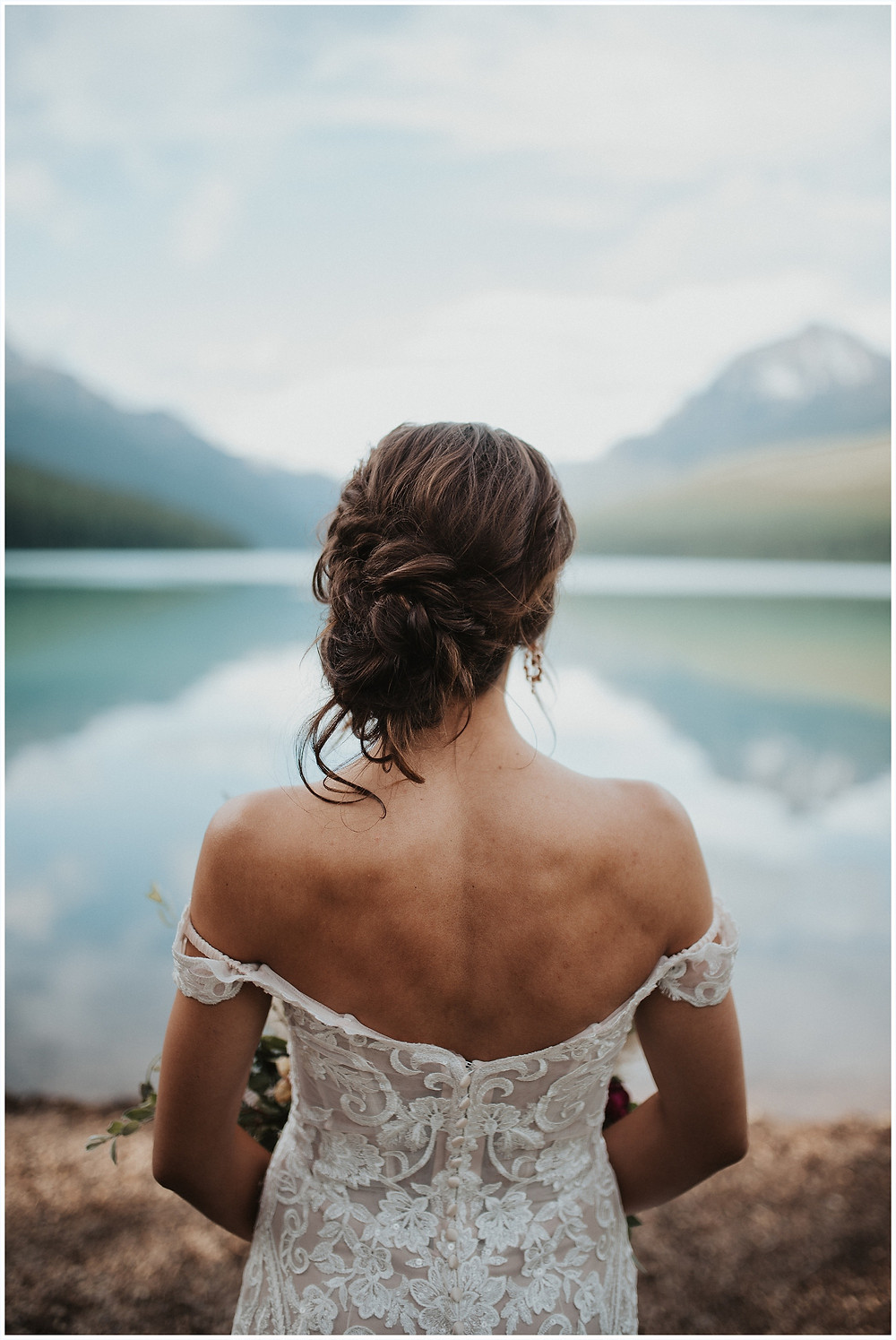 first look photos, Glacier National Park, Elegant and Romantic Styled Elopement, Katy Shay Photo, Montana Wedding and Elopement Photographer, Glacier National Park Photographer, Moody photos, glamorous wedding, Navy, maroon, coral, lace wedding dress, Bozeman photographer, Missoula photographer, Kalispell photographer, Glacier NP, Bowman Lake, styled shoot, elopement, elopement inspiration, bridal portraits, bridal hair and makeup