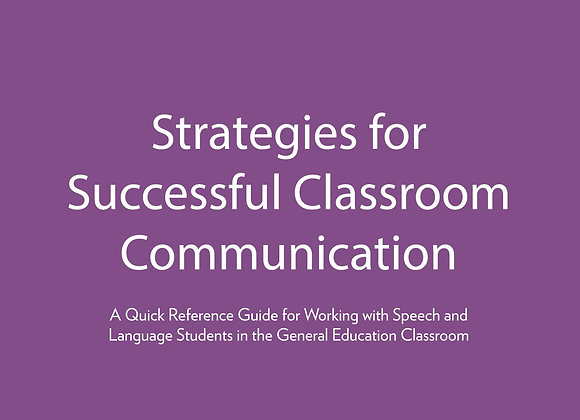 Strategies for Successful Classroom Communication: Ebook