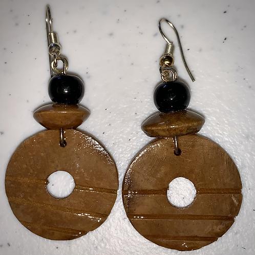 Brown, black & gold round earrings