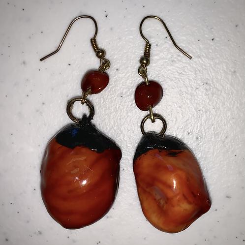 Black & ember beaded earrings